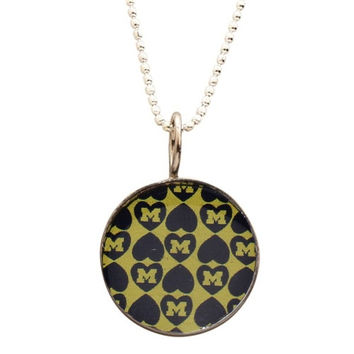 Michigan Wolverines Dayna U Women's Stainless Repeating Hearts Pendant Necklace