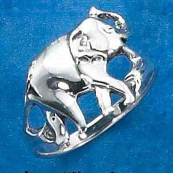 Sterling Silver Ring:  Elephant With Trunk Up Ring