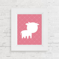 Nursery animal print. Baby animal art print. Pink baby cow nursery decor. Nursery art. Baby shower gift. New baby gift. Kids room decor