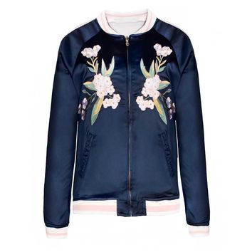 Women's Navy Floral Embroidered Reversible Bomber Jacket Fashion Casual Baseball Coat Autumn Jackets Outwears