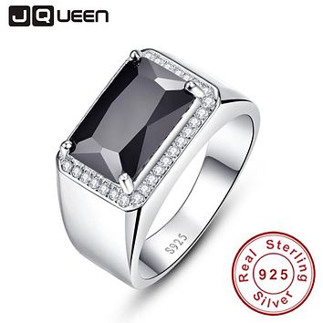 Luxury 6.8ct Black Spinel Male Ring Vintage Genuine 925 silver ring men Fine Jewelry S925 Big size Bijoux Jewelry With Gift Box
