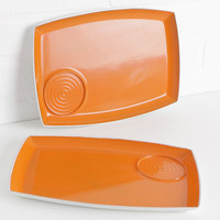 Vintage Orange TV Trays, Small Serving Trays for Retro Home Decor