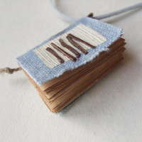 pastel blue  -mini book necklace, miniature book, mini book, old paper, tiny pendant, small book