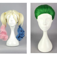 Suicide Squad Green Joker or Harley Quinn Cosplay Synthetic Wig Popular Anime