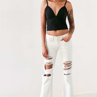 BDG Destructed Crop Kick Flare Jean - Urban Outfitters