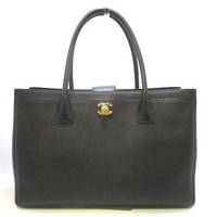 Auth CHANEL Executive Tote Line A15206 Black Soft Caviar Skin Tote Bag