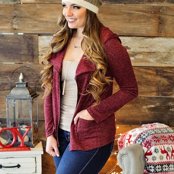 * Goes With Everything Double Zipper Jacket: Burgundy