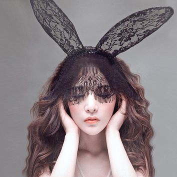 1PC Beautiful Sexy Black And White Lace Veil Mask Rabbit Ear Party Activities Headband Hair Fashion Women Accessory