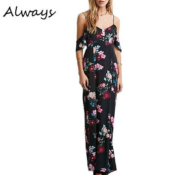 Women Off Shoulder Summer Dress Sleeveless Chiffon Maxi Dress Retro Floral Print Long Party Dress Vestidos