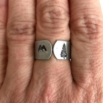 Mountain and Tree Stamped Ring, aluminum sterling silver adjustable wide band forest hiking camping nature skiing gift gifts for her