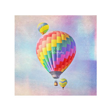 Hot Air Balloon Photography. Nursery Art. Whimsical Home Decor. Children's Room Decor. Colorful. Dreamy. Wall Art. Balloons in the sky.