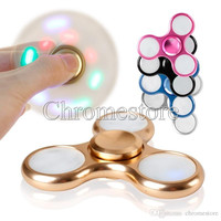 LED Light Alloy Hand Spinner Figet Toys Triangular Handspinner Aluminum Metal Material Professional Finger Gyro Fidget Toy For Decompression