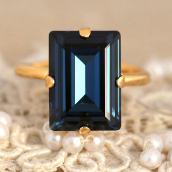 Navy Blue Crystal Ring, Emerald Cut Swarovski Ring, Rhinestone Square Gold Ring, Gift for woman, Wedding jewelry, Trending jewelry