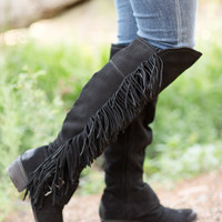 NAUGHTY MONKEY Frilly Fanta Boots - Black