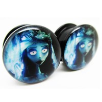 1 pair corpse bride plugs acrylic screw fit flesh tunnel ear plug gauges ear expander
