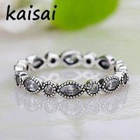 Octbyna 2018 New Silver Color Leaves Stackable Ring Clear Cubic Zirconia Pandora Ring Compatible with Original Jewelry