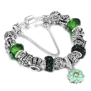 SPINNER Silver plated Charm Bracelet  for Women  Snake Chain & Murano Glass Beads Bracelet Authentic Jewelry