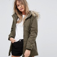 New Look Faux Fur Hooded Short Parka at asos.com