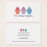 Triple Cupcakes Baker Bakery Chef Cater Whimsical Business Card