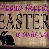 Framed Burlap Print - Easter Frame - Hippity Hoppity Easter is On It's Way - Bunny - Holiday Art - Spring - Housewarming - 8x10