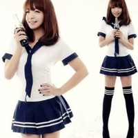 Aokin New Cute Sexy Japanese School Girl Sailor Uniform Cosplay Costume (M)