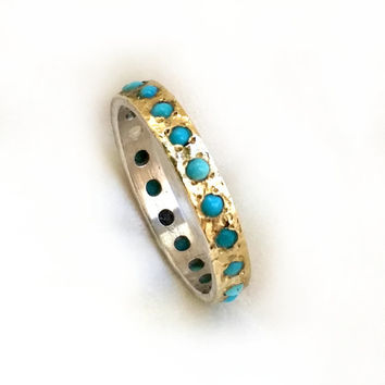 "Gorgeous turquoise engagement ring, most popular ring, sterling silver and gold set with turquoise, ""something blue"" engagement ring"