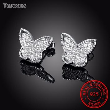 Tuswans High Quality Real 925 Sterling Silver Butterfly CC Stud Earrings with Zircon Beautiful Cute Woman Jewelry Gift(TSSVE083)