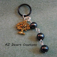 Tree of Life Mod Charm with Black Bead Dangle Vaporizer Charm Handmade