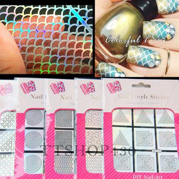 ONETOW Multiple-Use Stamping Tool Nail Art Hollow Laser Silver Template Stencil Stickers Vinyls Image Guide Polish Manicure 12 Style