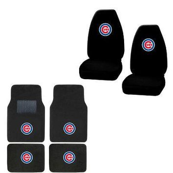 Licensed Official New MLB Chicago Cubs Car Truck Seat Covers & Front Back Carpet Floor Mats