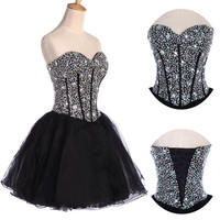 PLUS CHEAP Organza Beaded Short Mini Party Homecoming Prom Party Cocktail Dress