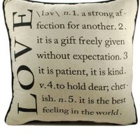 "Blossom Bucket 1311-43897 Love Definition Pillow, 14"", Black/Tan"