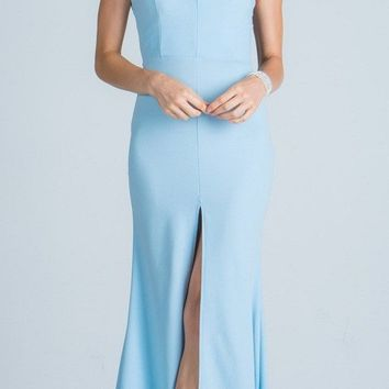 Long Party Dress Embellished Neckline with Keyhole and Slit Blue