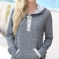Plain Button-Up Long Sleeve Hoodie Pocket Shirt