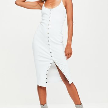 Missguided - White Strappy Ribbed Popper Midi Dress
