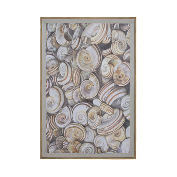 7011-375 Nicobar 48-Inch Hand Painted Canvas Wall Decor with Tan Mahogany Frame
