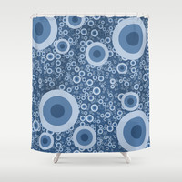 Blue bubbles Shower Curtain by Tony Vazquez