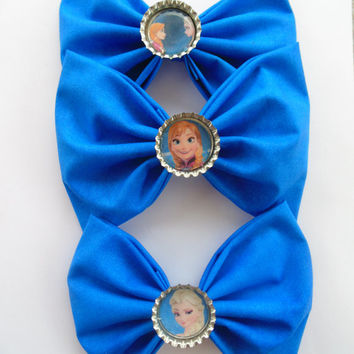 Hair bow / Frozen hair bow Set / Disney hair bow / bow / Elsa hair bow / Frozen hair clip / hair bow clip / Fabric bow / Anna / disney clip