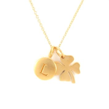Gold Initial & Clover Charm Necklace