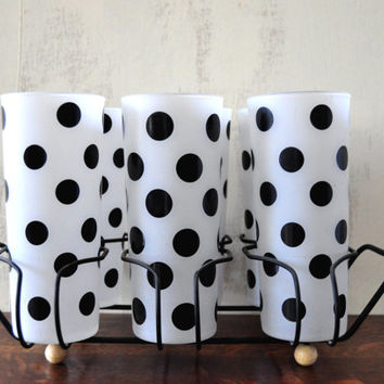 Vintage Fire King Polka Dot Glasses with Carrier, Set of Six Tumblers, Frosted with Black Dots, Anchor Hocking Glass