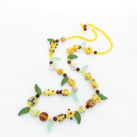 SALE Green necklace lampwork necklace spring necklace beaded  necklace beaded jewelry funny necklace beadwork gift for her