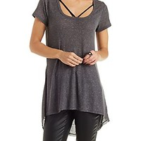 CAGED SCOOP NECK RIBBED TUNIC TEE
