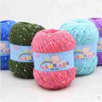 mylb 10balls=500g  Color point silk Barbie cashmere baby Yarn milk cotton thread in the rough children silk thread velvet hand