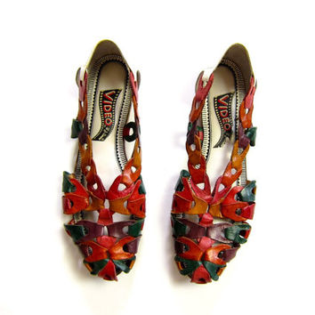 80s Leather Link Shoes Colorful Huaraches Slip On Chain Sandals 1980s Flats Summer Boho Beach Huarache Shoes Cut Out Women's Sandals Dells 6