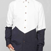 Vanishing Elephant Chevron Blocked Button-Down Shirt- White