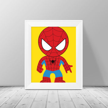 Super Hero Decor - Spider Man Print,  Superhero Art, Instant Download , PRINTABLE 8x10, Kids Wall Art , Nursery Wall Art, Playroom Art