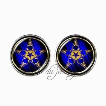 Vintage pentagram stud earring pentacle jewelry glass cabochon art picture statement earring wiccan occult pendants pendientes
