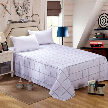 Monily Nordic 100% Cotton Bed Sheets Home Textile Bedding Coverlet Flat Sheet Queen King Size Plaid Bed Sheet Plaid Bedsheets