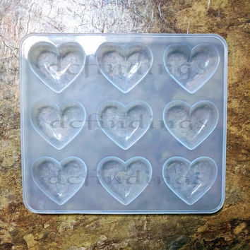 TRANSPARENT Shiny silicone Puffy heart mold