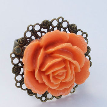 Peach Rose Filigree Ring by YssormDesigns on Etsy